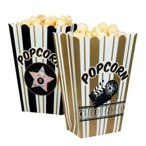 boland 44210 set schalen fuer popcorn hollywood weissschwarzgold